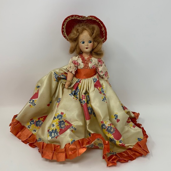Vintage doll blue eyes in gorgeous gown dress hat